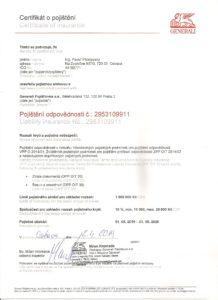 Certifikát o pojištění